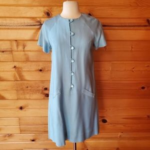 1960s Unlabeled Baby Blue, PolyCotton Blend Dress